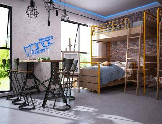 吊灯, 上下铺, 桌椅组合