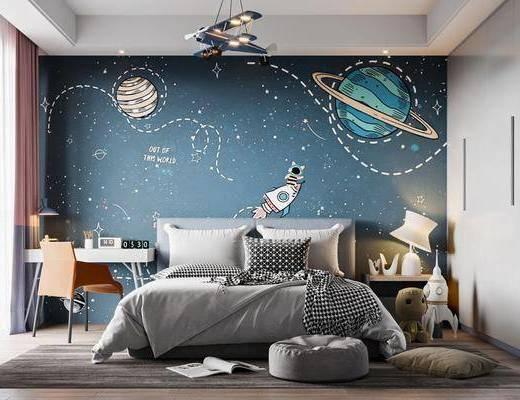 双人床, 背景墙, 书桌, 衣柜, 吊灯