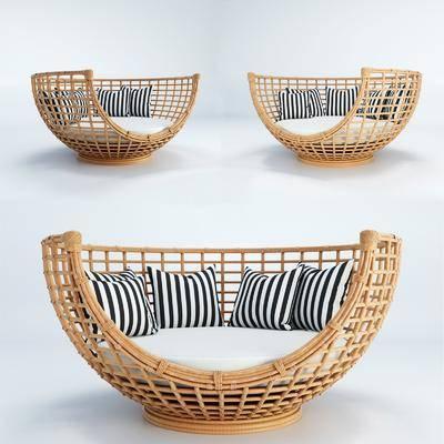 现代休闲创意沙发, 现代, 休闲沙发, 现代沙发, 藤编沙发