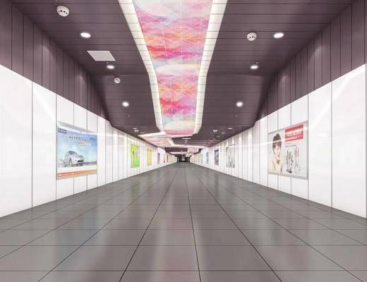 地下通道, 商场通道, 广告墙, 现代简约