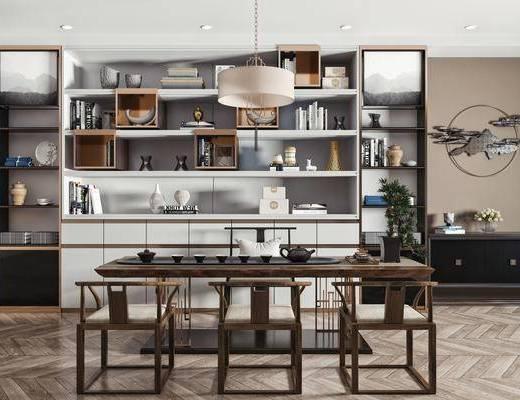 新中式茶桌椅组合, 茶桌椅, 餐桌椅组合