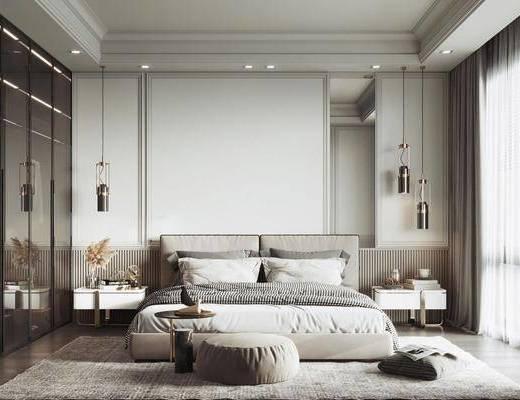 现代, 卧室, 双人床, 床头柜, 床头灯, 衣柜