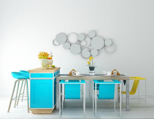桌椅组合, 餐桌椅, 吧凳, 椅子, 桌子, 墙饰