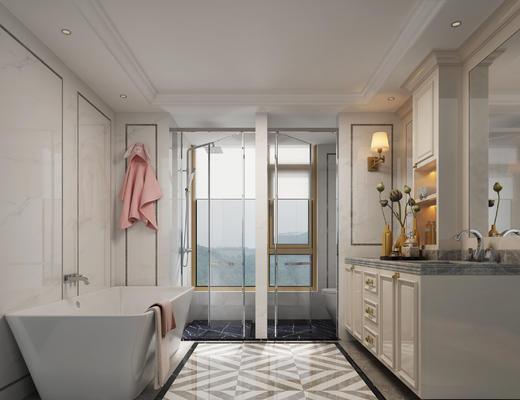 欧式, 卫生间, 浴巾, 浴缸, 浴室柜
