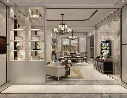 客厅, 餐厅, 单人沙发, 茶几, 躺椅, 电视柜, 边柜, 餐桌, 餐椅, 单人椅, 餐具, 吊灯, 装饰柜, 摆件, 装饰品, 陈设品, 新中式
