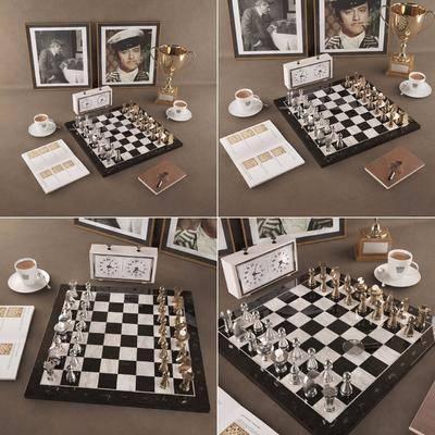 现代国际象棋, 奖杯, 画像, 闹钟, 笔记本, 咖啡杯, 欧式
