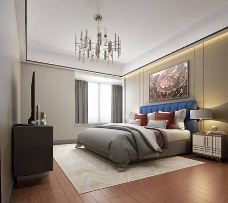 卧室, 双人床, 床头柜, 台灯, 装饰画, 挂画, 电视柜, 边柜, 吊灯, 装饰品, 陈设品, 摆件, 现代