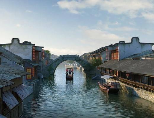 古建水桥, 废墟破楼, 古街街道, 河道河流, 小河水流, 古镇, 中式