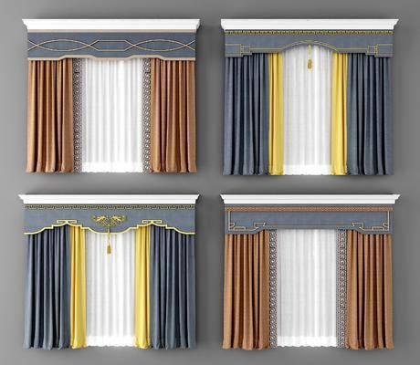 新中式窗帘, 布艺窗帘, 窗帘