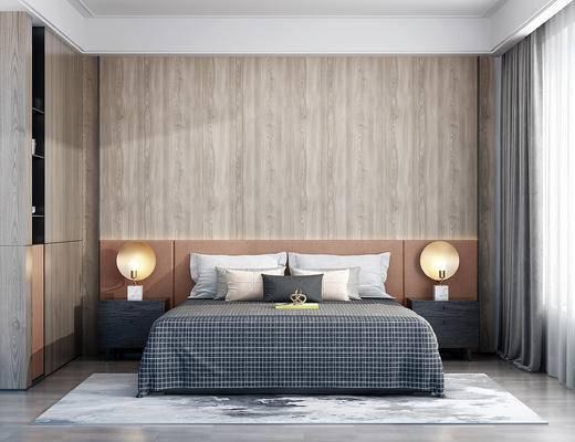 现代双人床, 床头柜