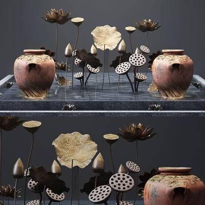 水池荷花, 陶罐, 装饰组合
