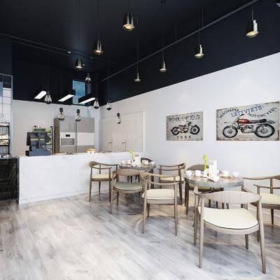 奶茶店, 桌椅组合, 前台接待, 北欧