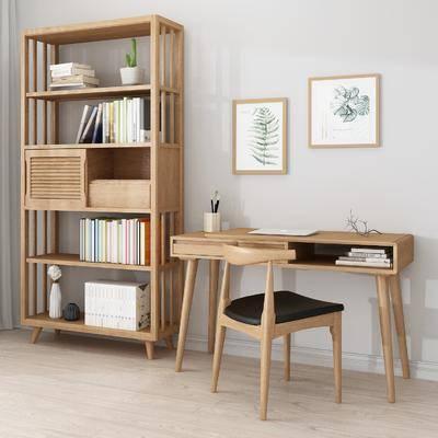 书桌书架, 单人椅, 植物画, 书柜, 书籍, 盆栽, 北欧