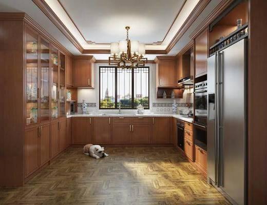 厨房, 橱柜, 厨具, 吊灯, 冰箱, 装饰柜, 新中式