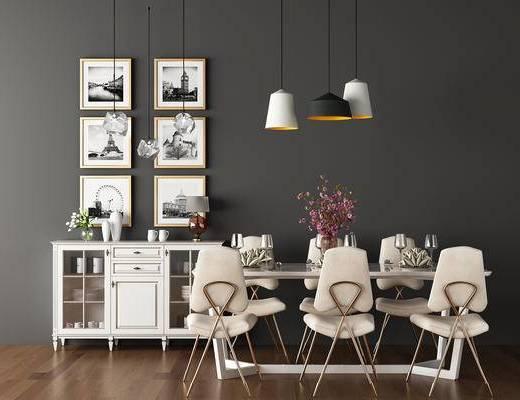 餐厅, 现代餐厅, 餐桌椅, 椅子, 餐边柜, 吊灯, 装饰画, 花瓶