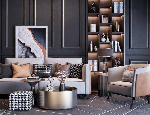 沙發組合, 沙發茶幾組合, 裝飾柜組合, 擺件組合, 現代輕奢