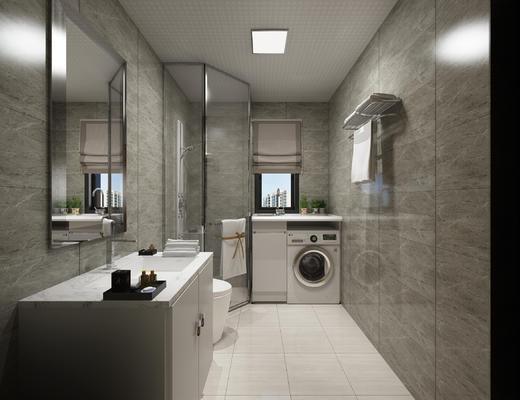 洗衣机一体柜, 浴室柜, 洗手池, 马桶, 卫生间