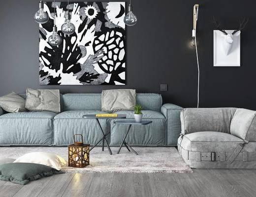 沙发, 沙发组合, 茶几, 装饰画, 墙饰, 吊灯