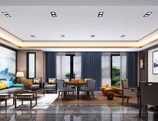 新中式酒店娱乐室, 工装