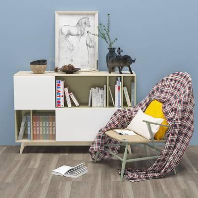 现代边柜, 书柜, 挂画, 椅子, 书本, 装饰品, 衣服