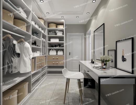 衣帽间, 客厅, 餐厅, 桌椅, 现代沙发, 衣柜