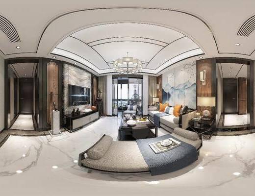 客廳, 餐廳, 家裝全景, 沙發組合, 沙發茶幾組合, 邊柜組合, 擺件組合, 臺燈組合, 壁燈組合, 餐桌椅組合, 餐具組合, 新中式