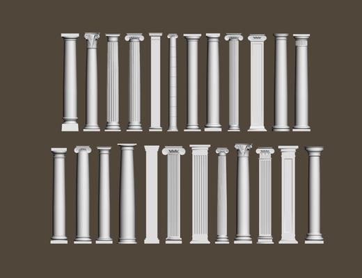 罗马柱, 石膏件, 欧式