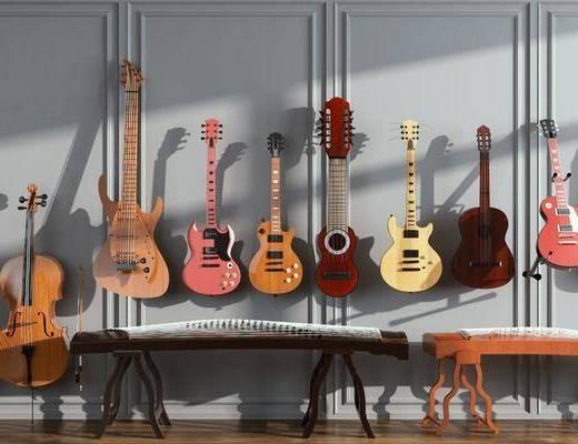 手提琴, 吉他, 古筝, 乐器