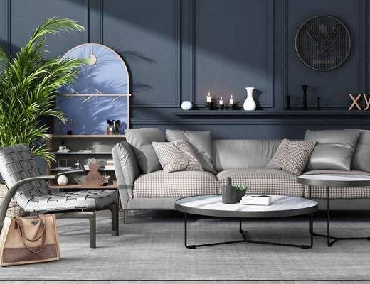 沙发, 茶几, 沙发组合, 置物架, 盆栽, 多人沙发, 单椅, 椅子, 圆几, 边柜, 陈设品, 摆件