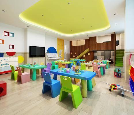 幼儿园, 教室, 单人椅, 玩具, 现代