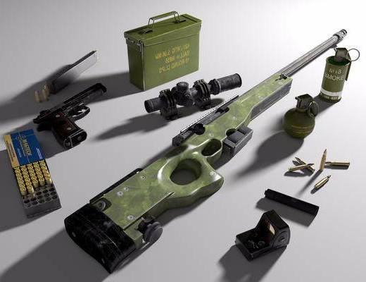 AWM, 8倍瞄准镜, 消音器, 手枪, 烟雾弹, 子弹