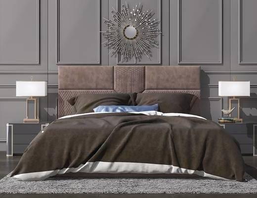 床具组合, 双人床, 床头柜, 台灯, 墙饰, 后现代