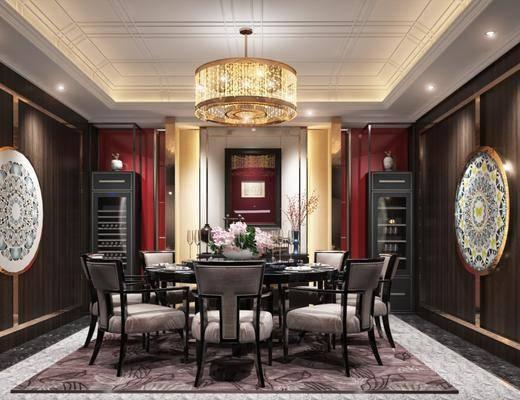 餐厅, 餐桌, 餐椅, 单人椅, 摆件, 装饰品, 陈设品, 墙饰, 吊灯, 装饰柜, 新中式