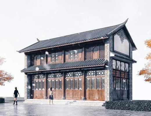 青砖白墙, 古建, 商业街