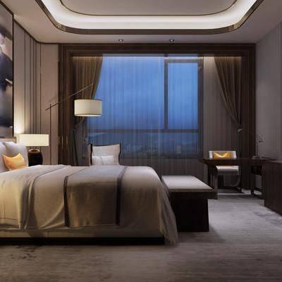 双人床, 床头柜, 边柜, 床尾榻, 单人沙发, 桌子, 落地灯, 台灯, 装饰画