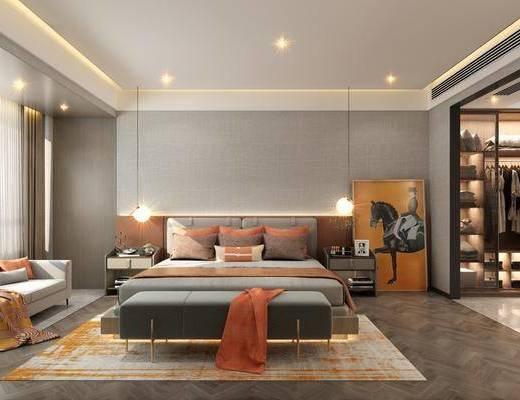 现代卧室, 卧室, 双人床, 衣帽间