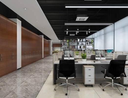 办公室, 会议室, 桌椅组合, 书柜, 书籍, 边几, 台灯