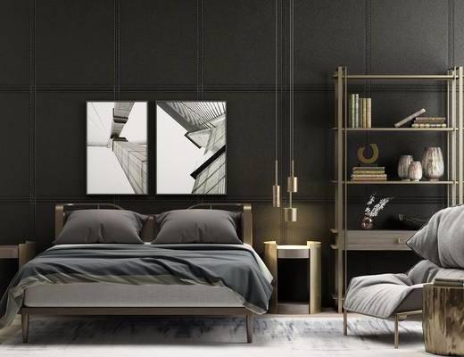 床具组合, 双人床, 床头柜, 吊灯, 单人沙发, 装饰画, 挂画, 装饰架, 摆件, 装饰品, 陈设品, 边几, 美式