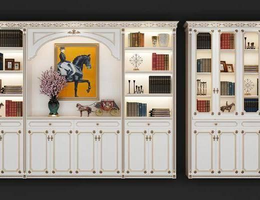 书柜, 装饰柜, 装饰画, 挂画, 书籍, 装饰品, 陈设品, 摆件, 花瓶, 花卉, 法式