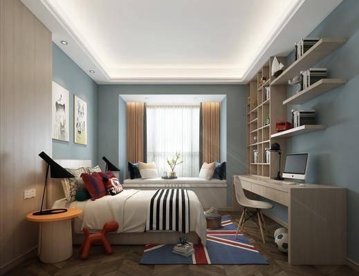 儿童房, 卧室, 床具组合, 挂画组合, 装饰柜组合, 摆件组合, 桌椅组合, 北欧