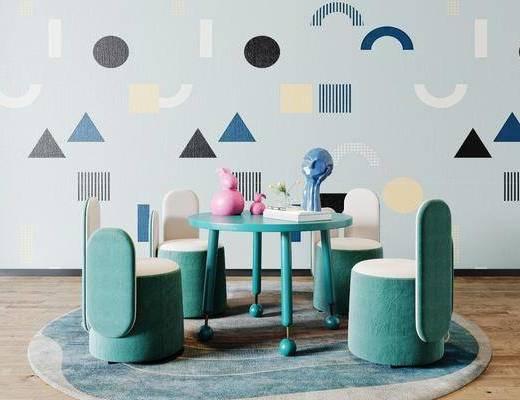 现代, 儿童活动区, 儿童桌椅