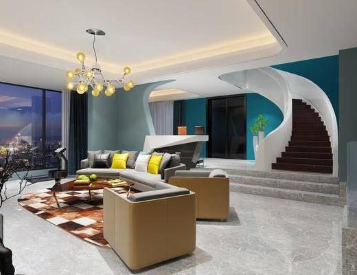 多人沙发, 布艺沙发, 单人沙发, 吊灯, 茶几, 摆件, 现代, 客厅