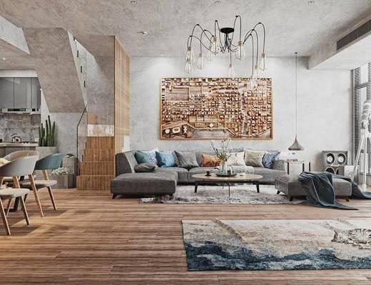 沙发组合, 装饰画, 吊灯, 摆件组合, 单椅, 餐桌, 地毯