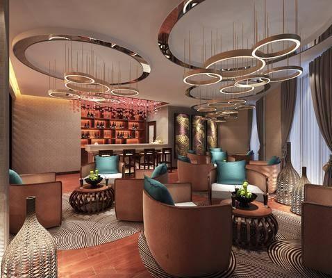 吊灯, 沙发组合, 茶几, 桌椅组合, 装饰画, 前台, 单椅