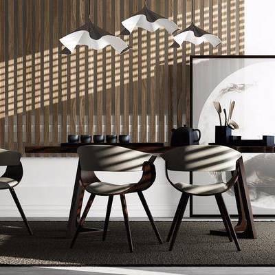 单人椅, 挂画, 盆栽, 茶具, 吊灯, 新中式