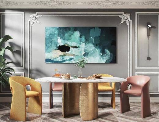 餐桌, 挂画, 石膏线, 餐椅, 食物