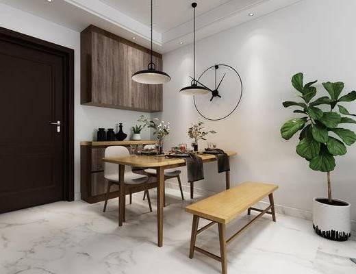 餐厅, 餐桌椅, 椅子, 酒柜, 门, 绿植, 现代