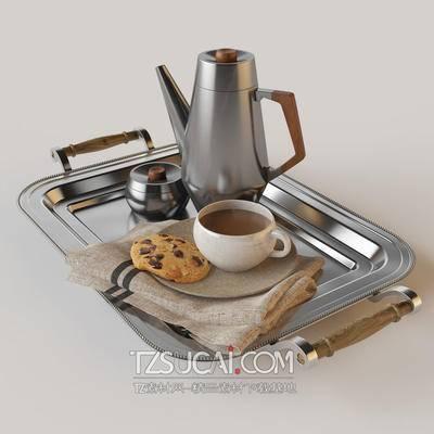 不锈钢, 水壶, 杯子, 饼干, 布, 托盘, 现代