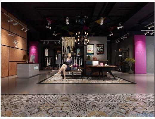 女装, 服装店, 复古, 现代简约, 模特, 饰品, 鞋帽, 品牌, 商场, 模型