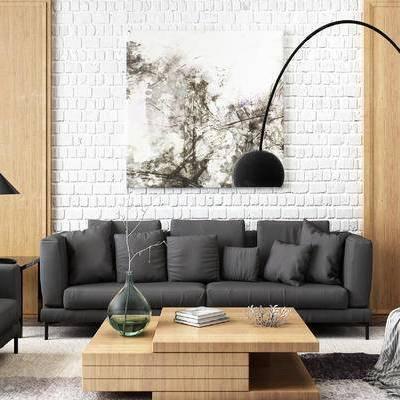 现代黑色布艺沙发, 落地灯, 茶几, 矮凳, 挂画, 椅子, 台灯, 摆设品, 装饰品, 现代
